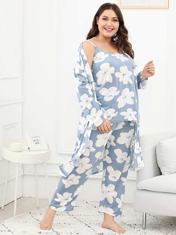Plus Floral Print Cami Pajama Set With Robe, Carol