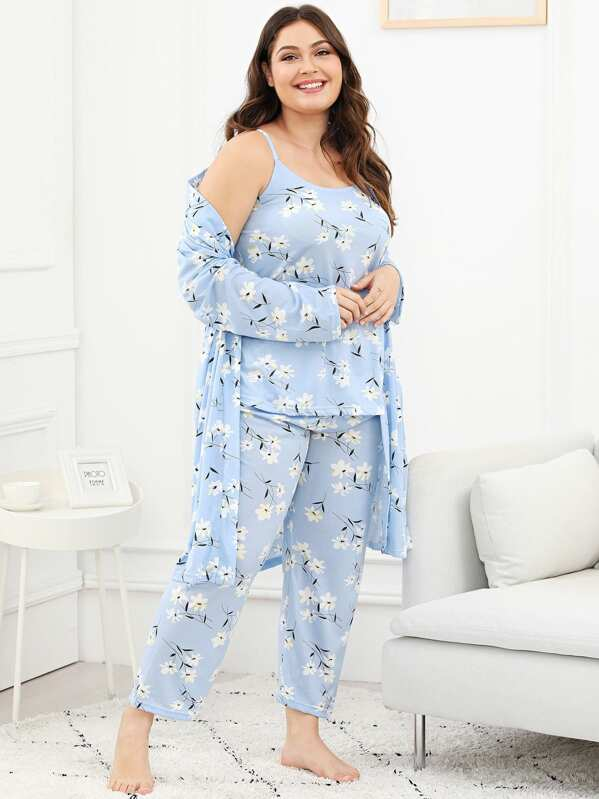 Plus Calico Print Cami Pajama Set With Robe, Carol
