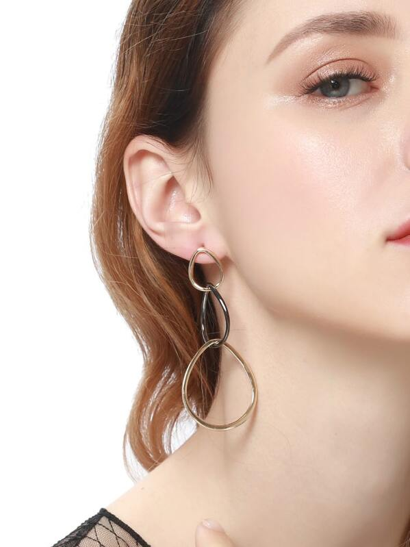Two Tone Drop Earrings 1pair