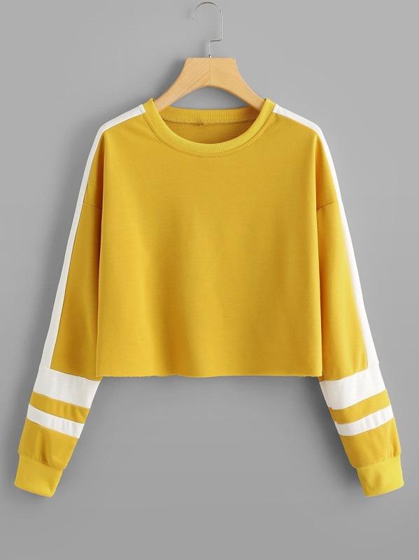 Striped Raw Hem Sweatshirt