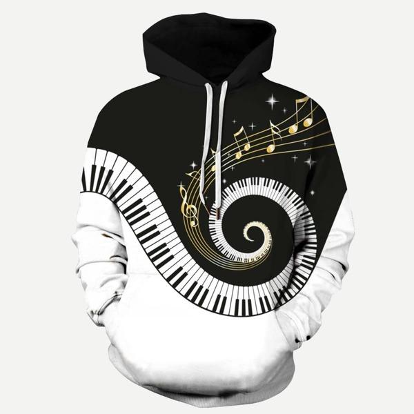 Men Piano Keys Print Hooded Sweatshirt