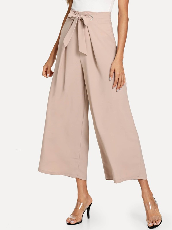 Drawstring Waist Solid Wide Leg Pants, Andy