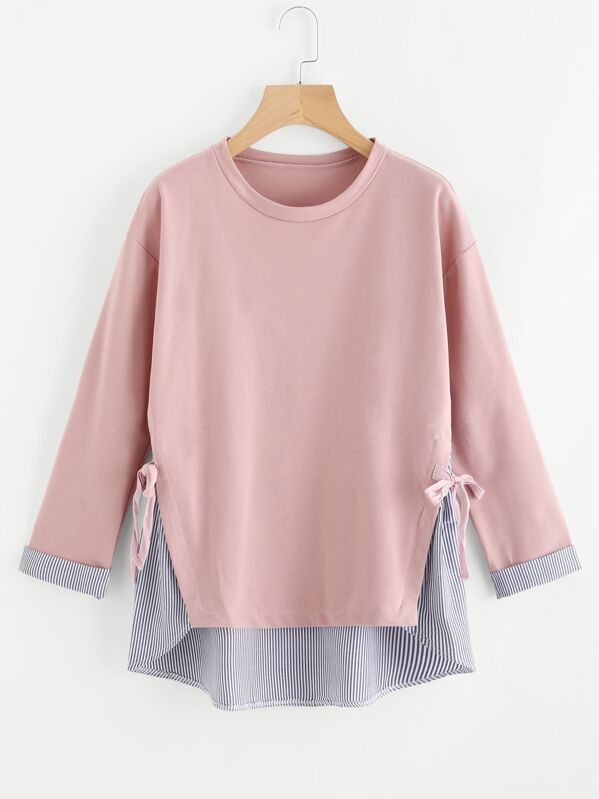 Plus Striped Hem Sweatshirt