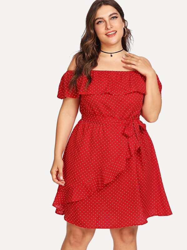 Plus Ruffle Trim Belted Polka Dot Dress, Franziska