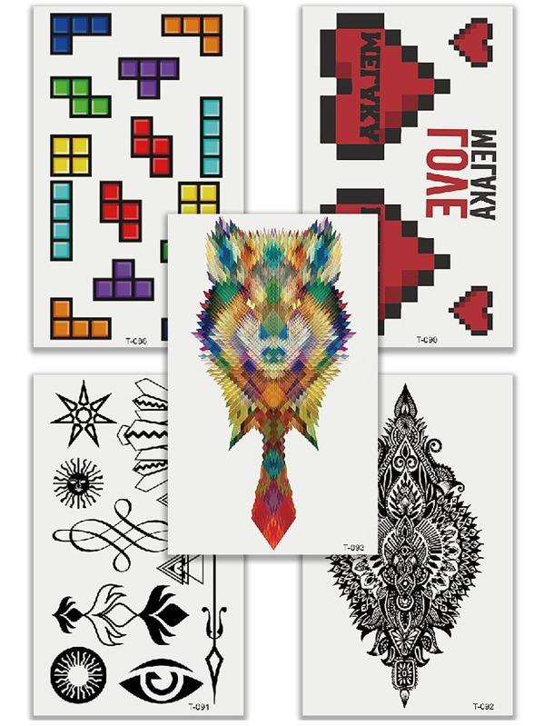Комплект татуировки с рисунками Тетрис и животных 5 шт, Многоцветный