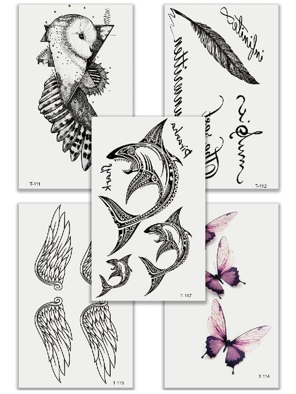 Комплект татуировки с рисунками крыла и акулы 5 шт, Чёрный
