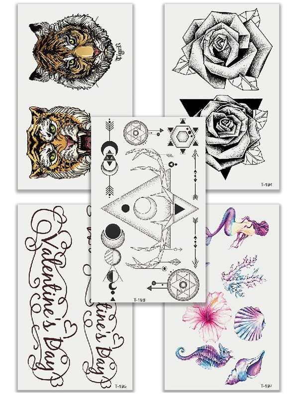 Tiger & Letter Tattoo Sticker Set 5pcs, null