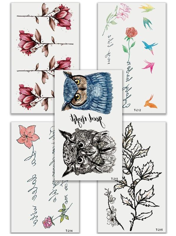 Owl & Flower Tattoo Sticker Set 5pcs, null