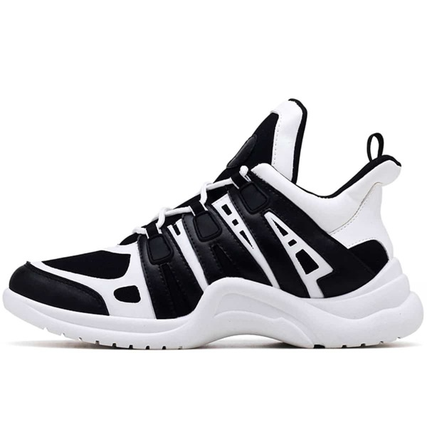 Men Two Tone Chunky Sneakers, Black and white