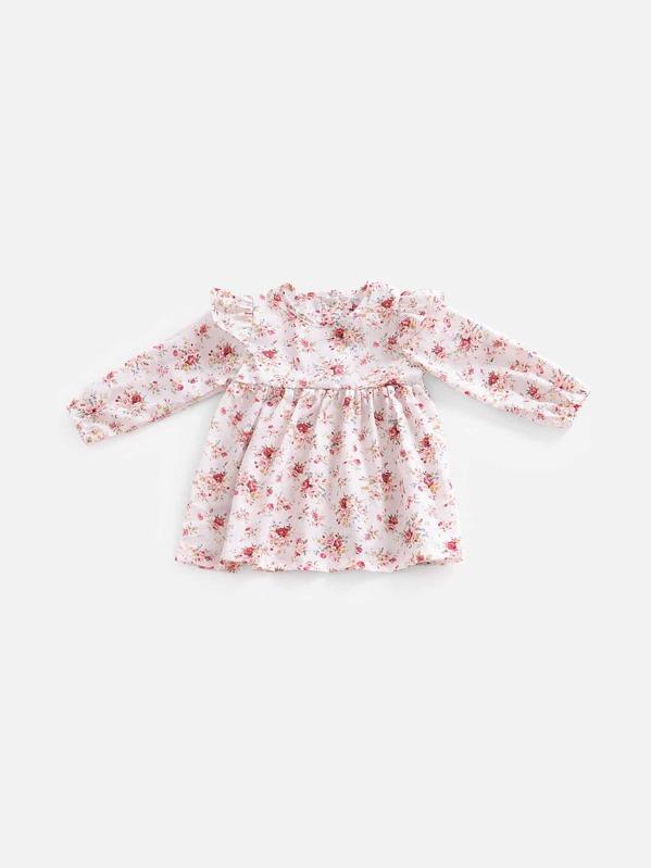 Ситцевое платье с кружевными оборками для деввочки, null
