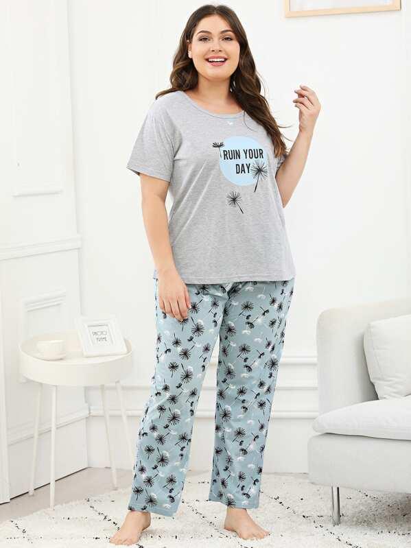 Plus Dandelion & Letter Print Pajama Set, Carol