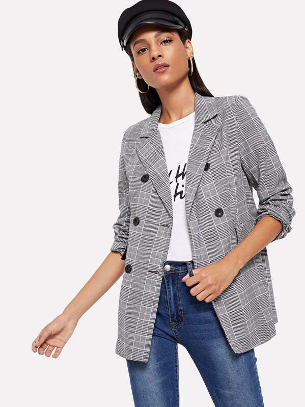 Double-breasted Plaid Blazer, Kary