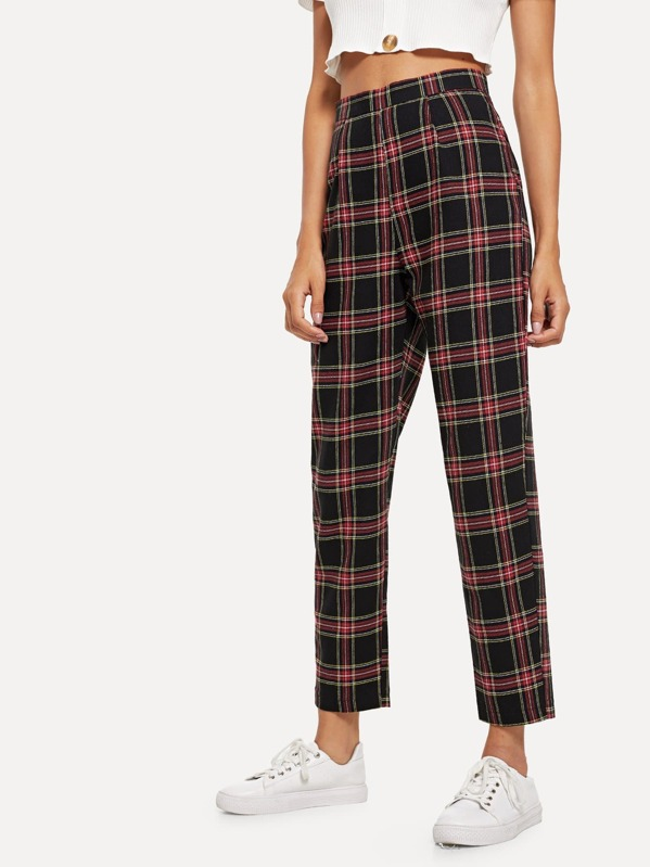 Plaid Zip Side Pants, Kary