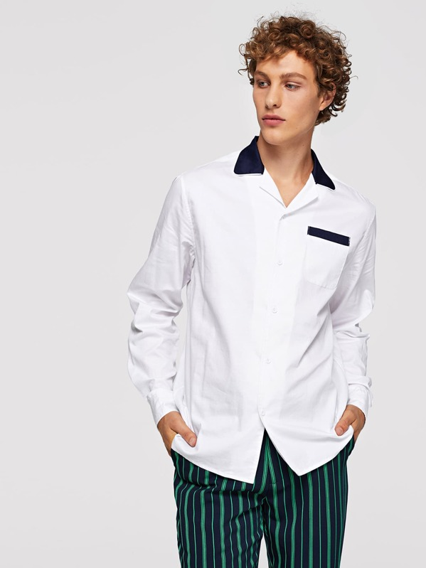 Men Contrast Collar Pocket Patched Shirt, Kristian