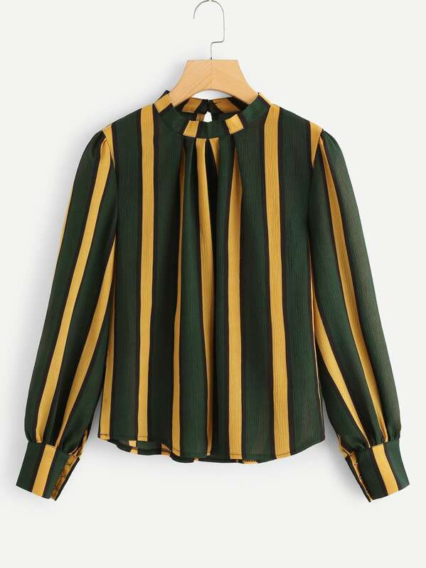 Bishop Sleeve Striped Blouse, null