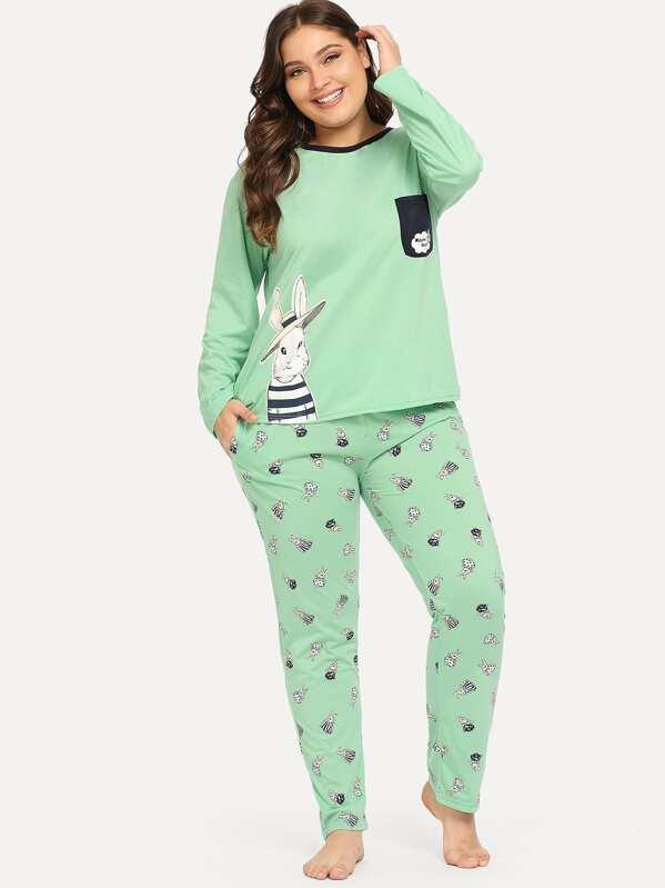 Plus Rabbit Print Pajama Set, Carol