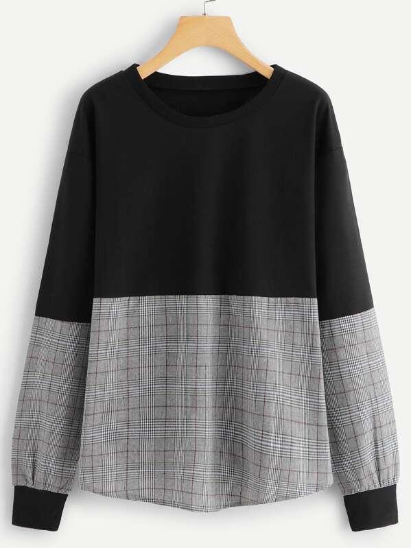 Симметрический пуловер в клетку, null