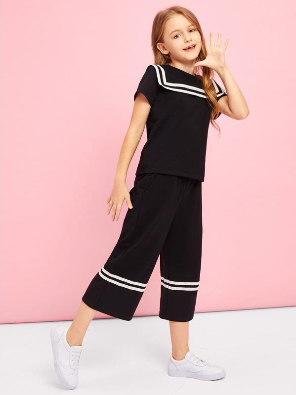 Girls Striped Detail Top & Wide Leg Pants Set, Sashab