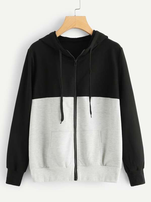 Colorblock Zip Up Hooded Jacket, null
