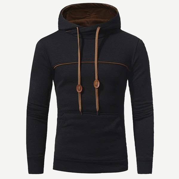 Men Cut And Sew Panel Hooded Sweatshirt, Black