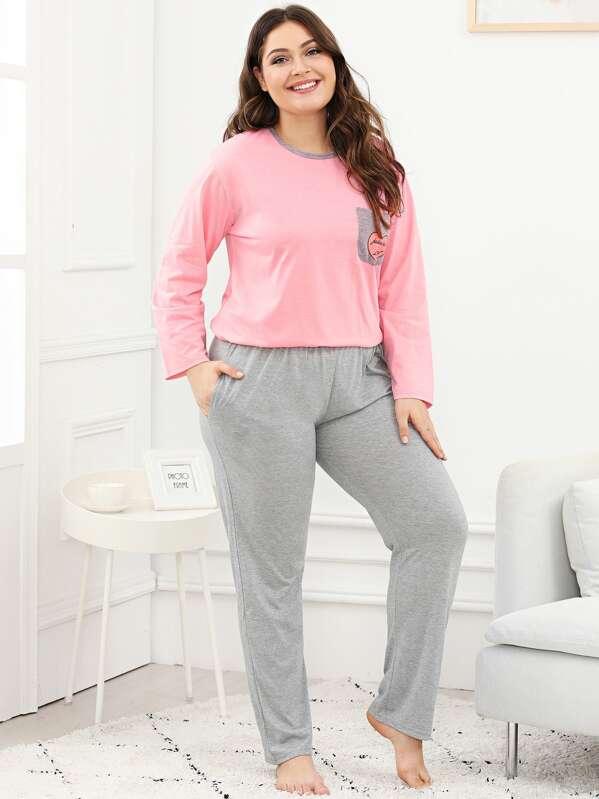 Plus Heart Print Pocket Pajama Set, Carol