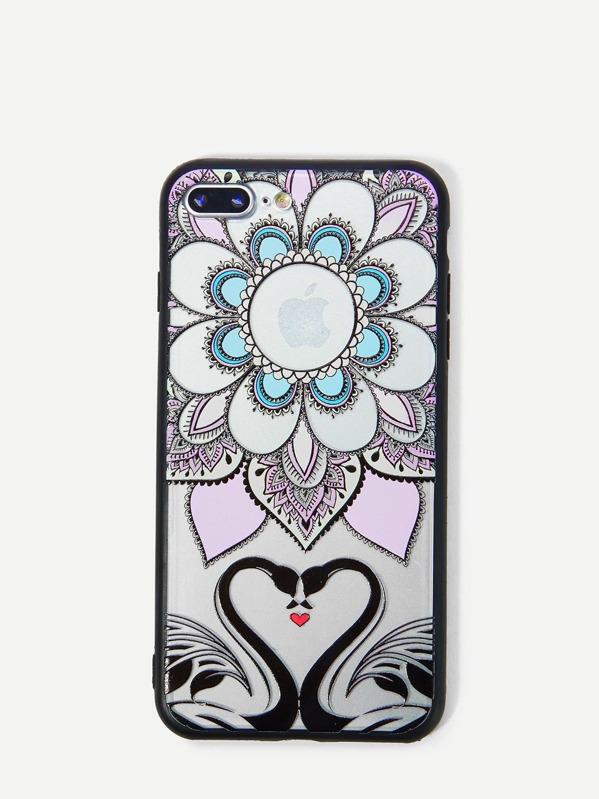 Lotus & Swan Print iPhone Case