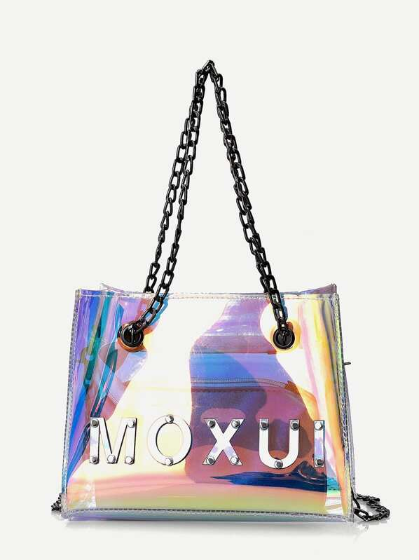 Studded Detail Tote Bag With Inner Clutch