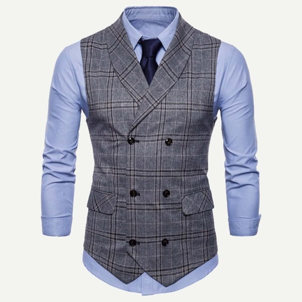 Men Double Breasted Plaid Outer, Multicolor