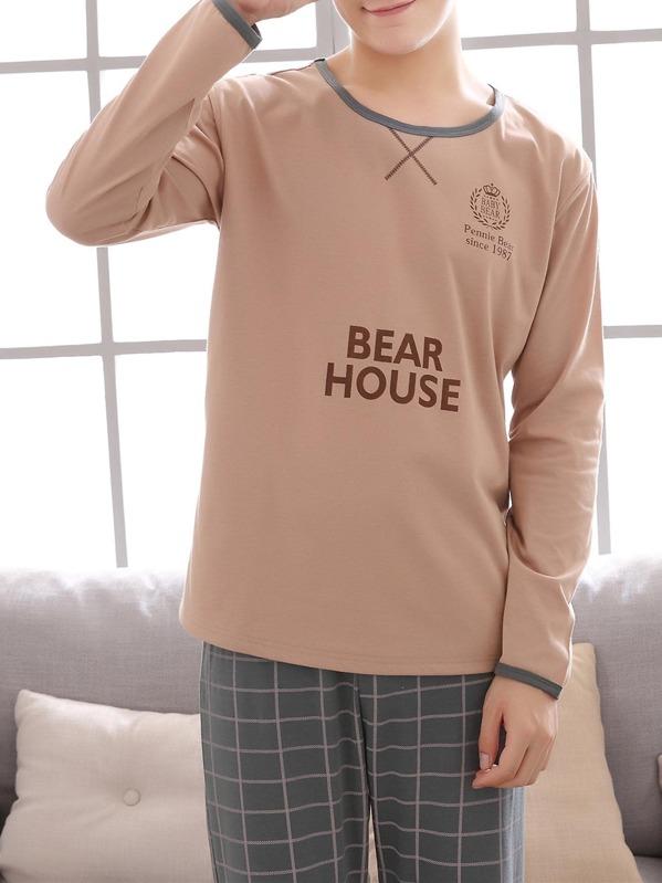Men Letter Print Plaid Pajama Set, null