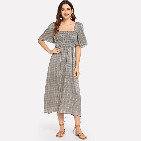 Square Neck Plaid Dress