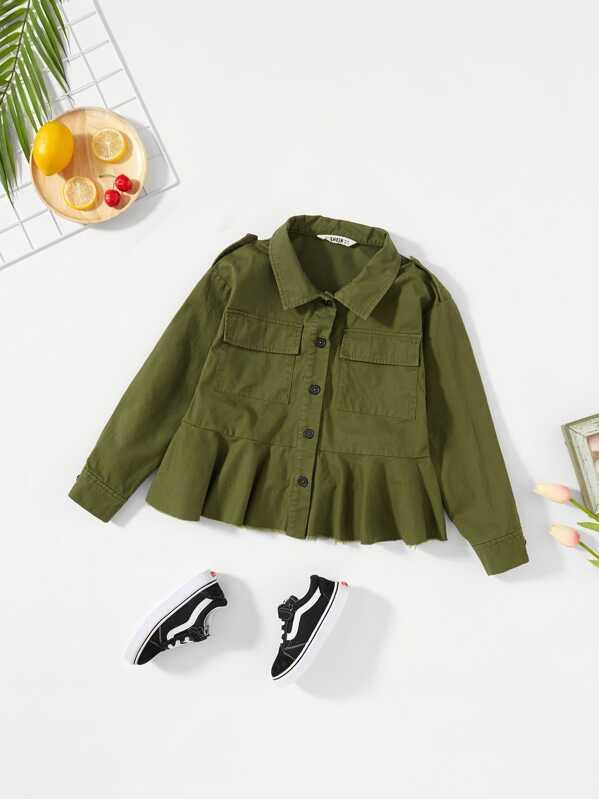 Girls Button Up Pocket Front Peplum Jacket
