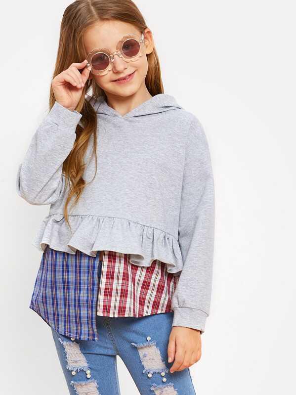 Girls Ruffle and Asymmetrical Hem Hoodie Sweatshirt, Sashab