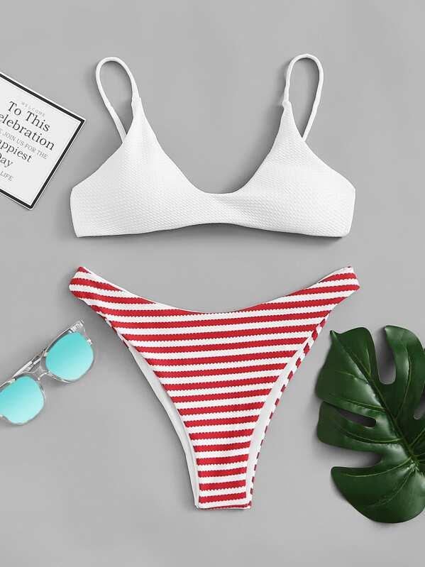 Plunge Top With Striped Cheeky Bikini Set
