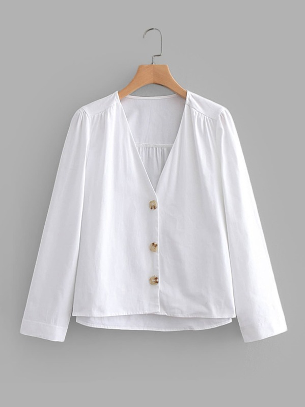 Solid Button Through Blouse, null