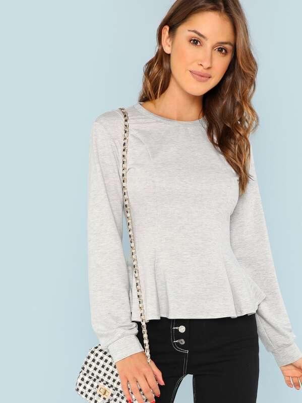 Solid Ruffle Hem Sweatshirt, Gigi Paris