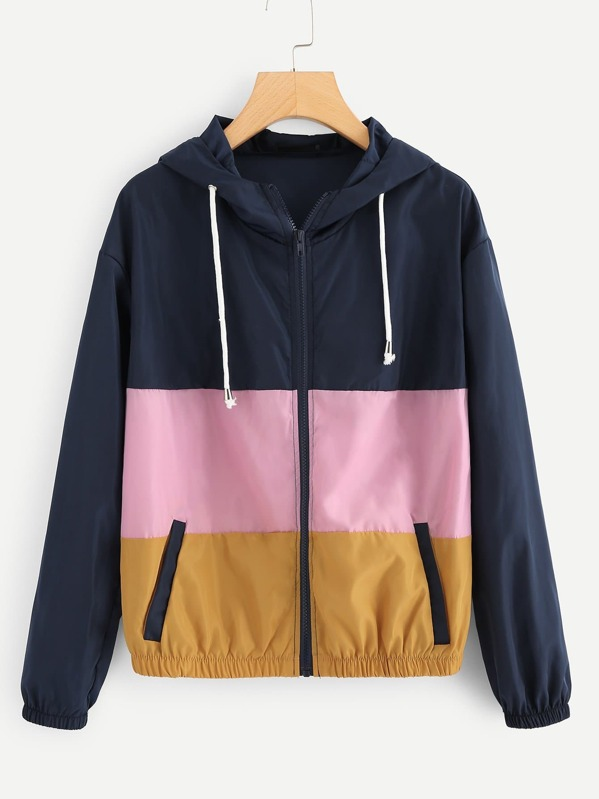 Cut And Sew Hooded Windbreaker Jacket, null