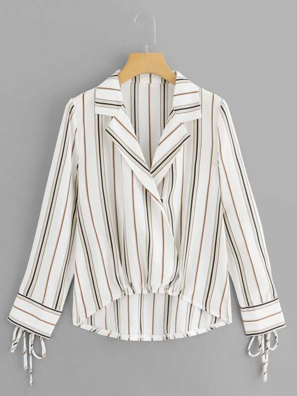 Striped Knot Sleeve Dip Hem Blouse, null