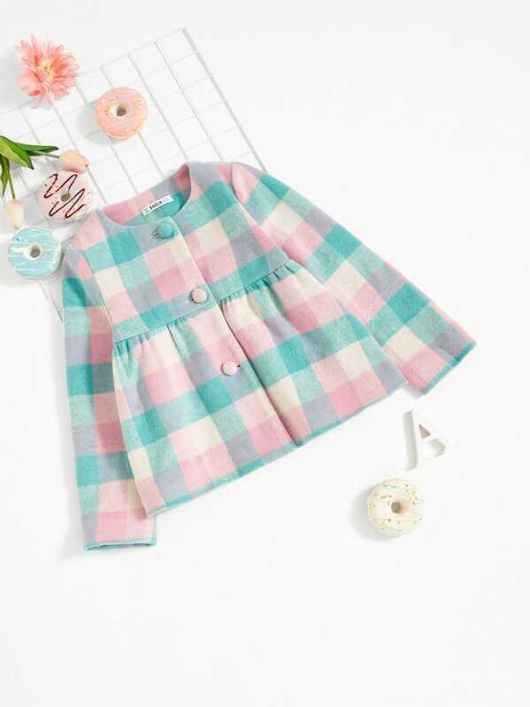 Girls Button Up Gingham Print Peplum Jacket