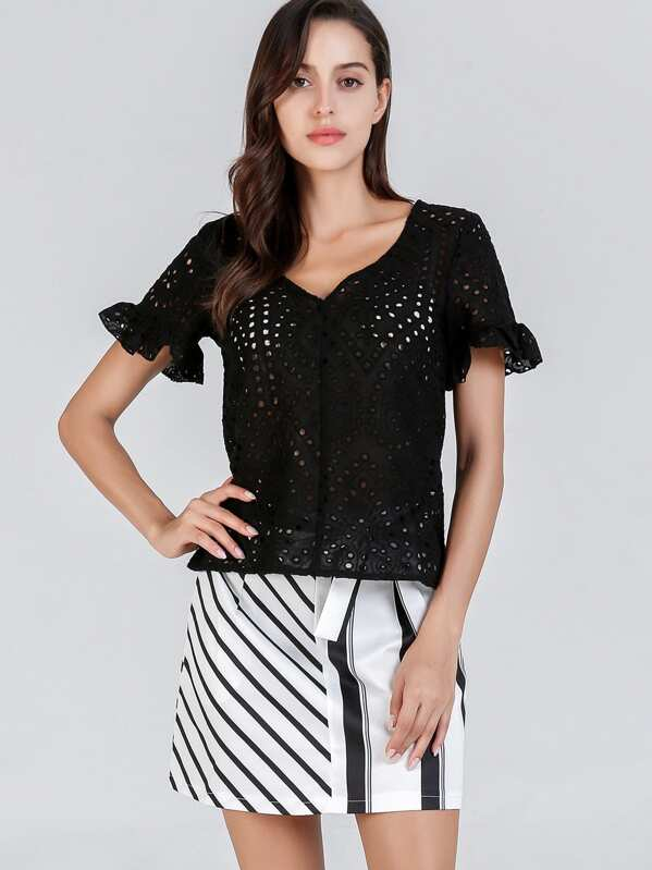 Lace Eyelet Bell Sleeve Solid Top, Mary P.