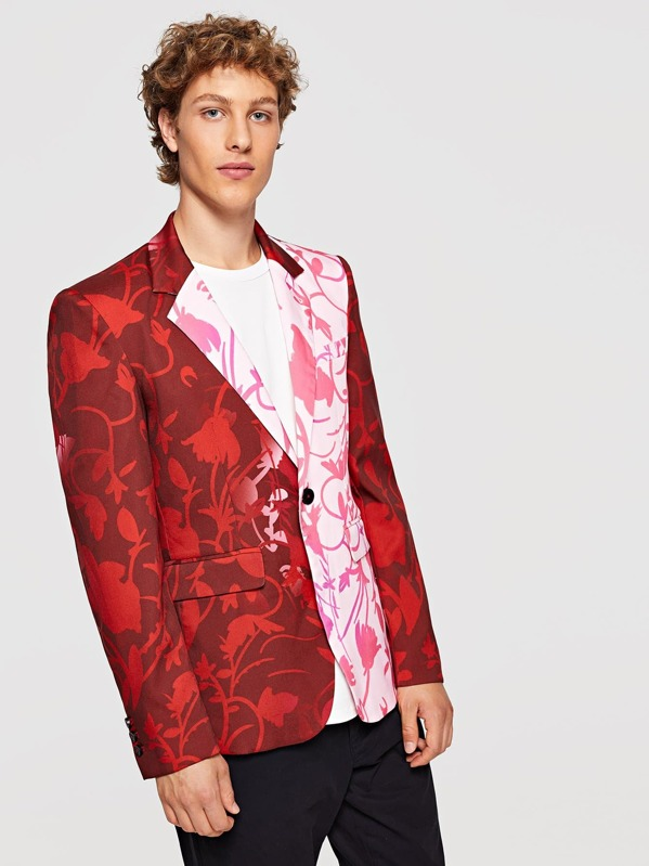 Men Pocket & Button Up Notched Neck Floral Blazer, Kristian