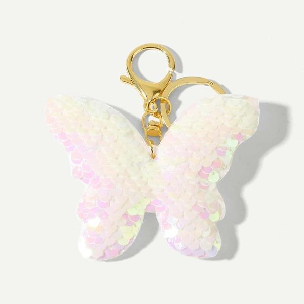 Sequin Butterfly Design Keychain