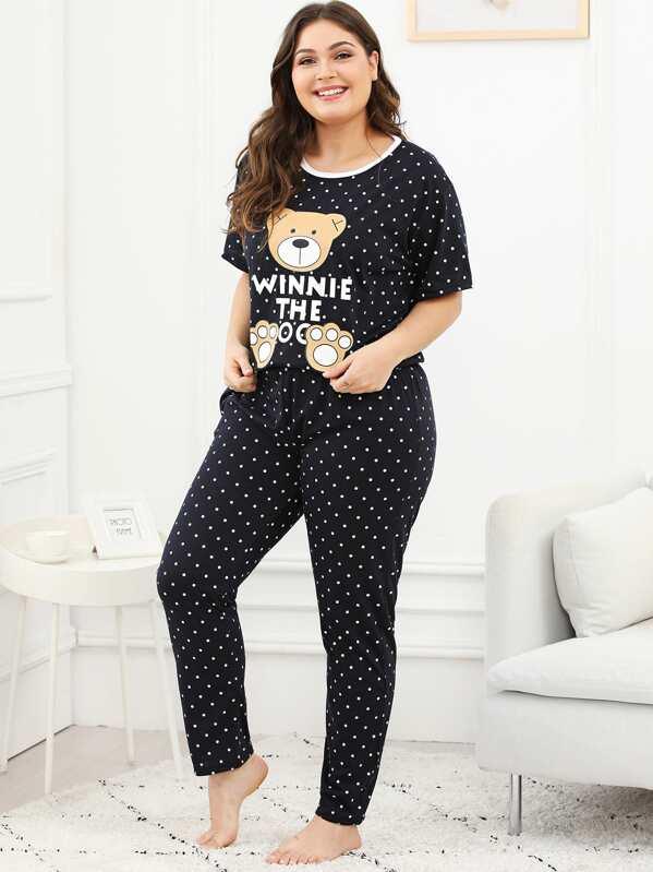 Plus Bear Print Polka Dot Pajama Set, Carol