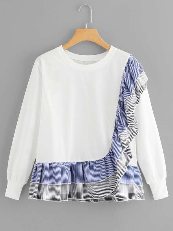 Ruffle Hem Striped Sweatshirt