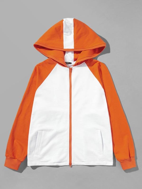 Men Zip Up Hoodie Raglan Sleeve Sweatshirt