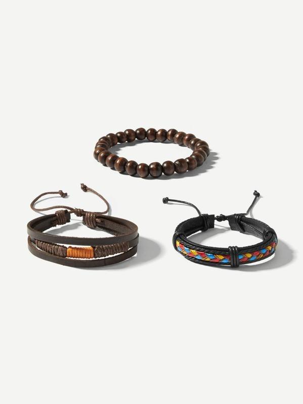 Men Woven & Beaded Bracelet Set 3pcs, null