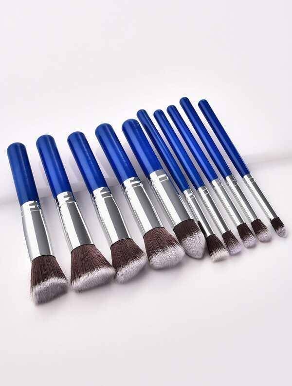 Two Tone Handle Makeup Brush Set 10pcs, null