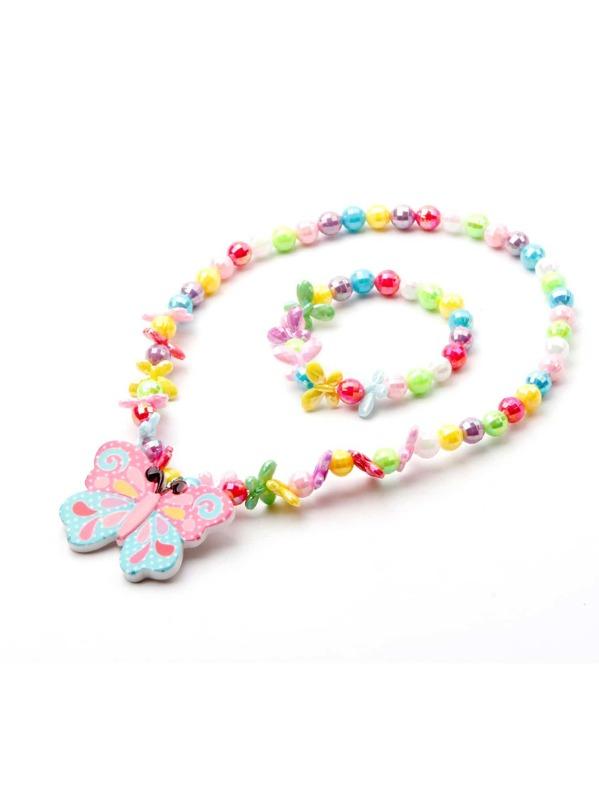 Girls Beaded Necklace & Bracelet 2pcs, null