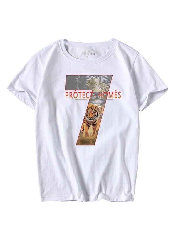 Men Tiger And Letter Print Tee