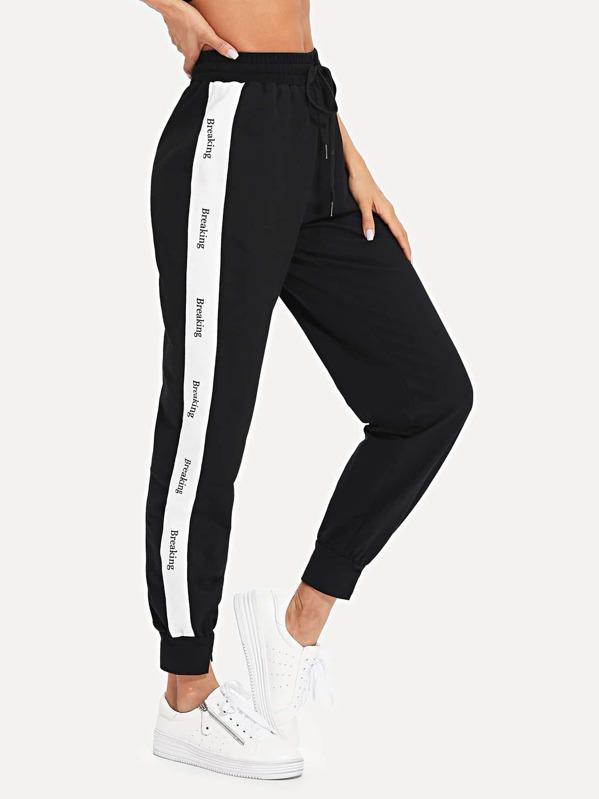 Contrast Tape Side Drawstring Waist Sweatpants, Andy