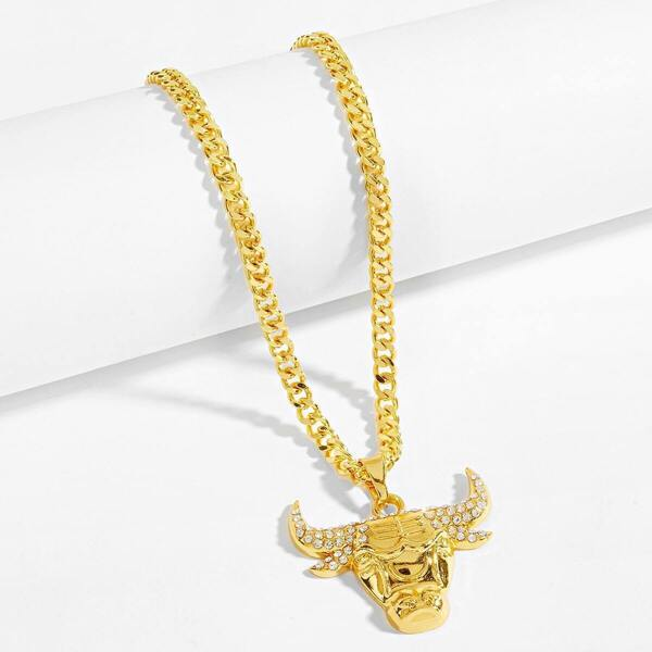 Men Bull Shaped Pendant Necklace